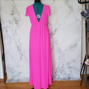 Gianni Bini Hot Pink V-cut Maxi Dress